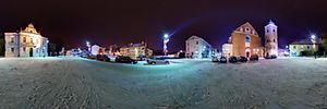 Spacer Wirtualny po Rzeszowie, Farny, pl. 2, Rzeszów - Panoramy (Plac farny zimową nocą) :: Zdjęcia na mapie Targeo