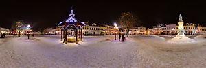 Spacer Wirtualny po Rzeszowie, Rynek 8, Rzeszów - Panoramy (Rynek zimową nocą przed pomnikiem) :: Zdjęcia na mapie Targeo